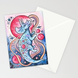 Star Tricera | Cosmic Dinosaur Watercolor Stationery Cards