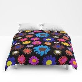 60's Daisy Crazy in Black Comforters
