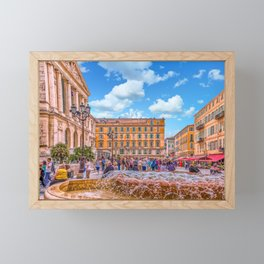 People in Nice Plaza with Fountain Framed Mini Art Print