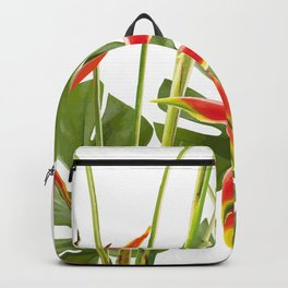 Tropical Flowers Helikonias and Monstera white Backpack