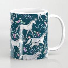 Unicorns and Stars on Dark Teal Mug