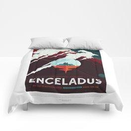 Enceladus - NASA Space Travel Poster Comforters