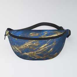 Blue Faux Marble With Gold Strike Veins Fanny Pack