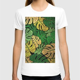 Grunge Monstera Leaves T-shirt