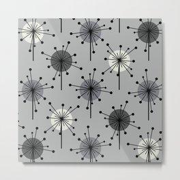 Atomic Era Sputnik Starburst Flowers Gray Metal Print