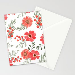 Peach flower pattern with berry Stationery Cards