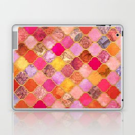 Hot Pink, Gold, Tangerine & Taupe Decorative Moroccan Tile Pattern Laptop & iPad Skin