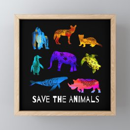 Save The Endangered Animals Framed Mini Art Print