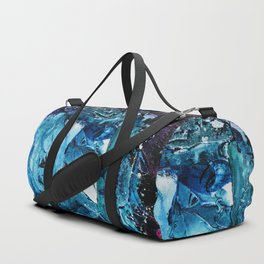 Faces in blue Duffle Bag