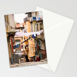 """Travel Photography """"street in inner city Istanbul, Turkey with laundry and colorful houses, in orange and pastel colors. Fine art photo print.  Stationery Cards"""