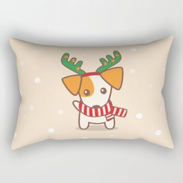 Jack Russell Terier with Reindeer Antlers on snowy background Illustration Rectangular Pillow