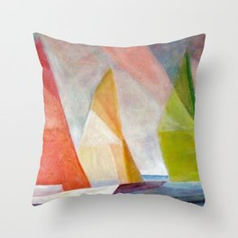 Sailing Yachts at Sunrise by Lyonel Feininger Throw Pillow
