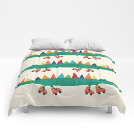 Crocodile on Roller Skates Comforters