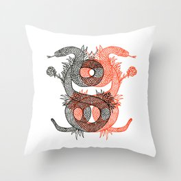 Two Serpents Throw Pillow