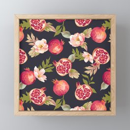 Pomegranate patterns - floral roses fruit nature elegant pattern Framed Mini Art Print