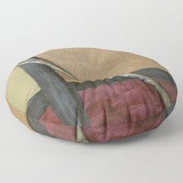 Artist Brush On Abstract Copper Canvas Artwork - Vintage - Modern Art - Corbin Henry Floor Pillow
