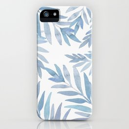 Muted Blue Palm Leaves iPhone Case