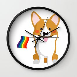 LGBT Gay Pride Flag Corgi - Pride Women Gay Men Wall Clock