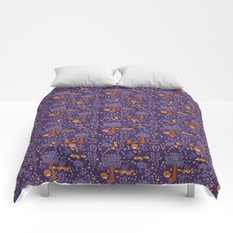 Foxes Playing in a Purple Forest Comforters