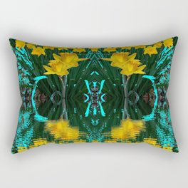 YELLOW DAFFODILS TURQUOISE PATTERNED GARDEN Rectangular Pillow