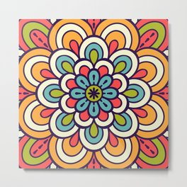 Mandala, Colorful Abstract Flower Metal Print