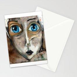 Oleo de mujer de ojos azules Stationery Cards