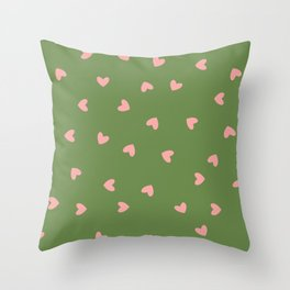 Pink Hearts on Green Background Throw Pillow