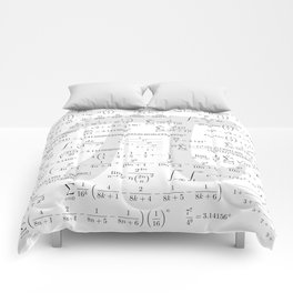 The Pi symbol mathematical constant irrational number, greek letter, and many formulas background Comforters