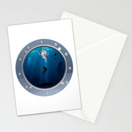 Deep Dive Parachuting Stationery Cards