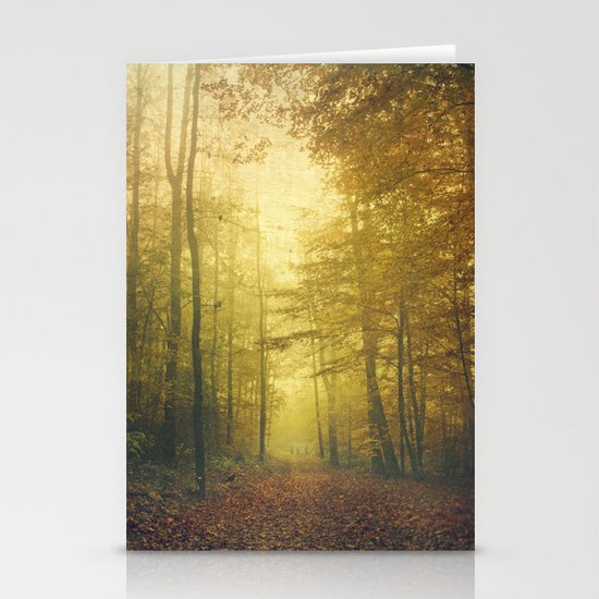 fall morning forest Stationery Cards