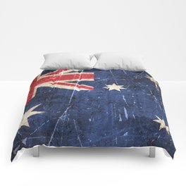 Vintage Aged and Scratched Australian Flag Comforters