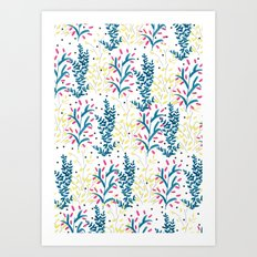 bright flowers. Illustration, pattern, flowers, floral, print,  Art Print