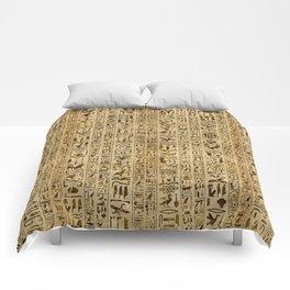 Egyptian hieroglyphs on papyrus Comforters