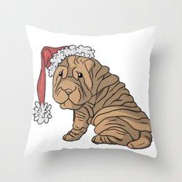 Brown Christmas Sharpei Throw Pillow