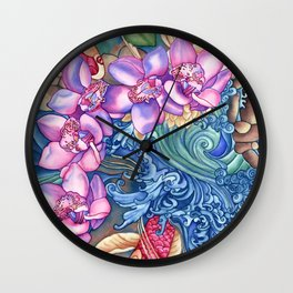 Orchid Splash Wall Clock