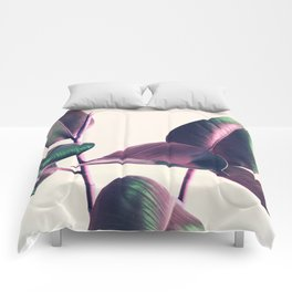 Pink and Green Iridescent Leaves Comforters