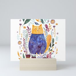 Watercolor cat Mini Art Print