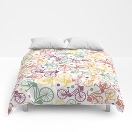 Whimsical bicycle pattern & retro polka dots Comforters