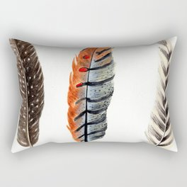 Dotted & Striped Feathers Rectangular Pillow