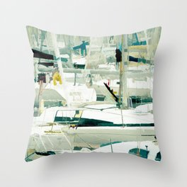 Harbour in the Bretagne II Throw Pillow