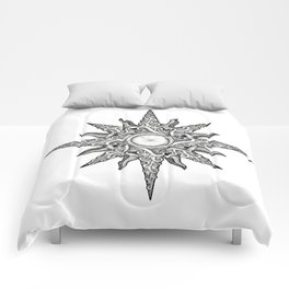 Surf in a Windrose – Compass (tattoo style) Comforters
