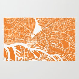 Hamburg map orange Rug