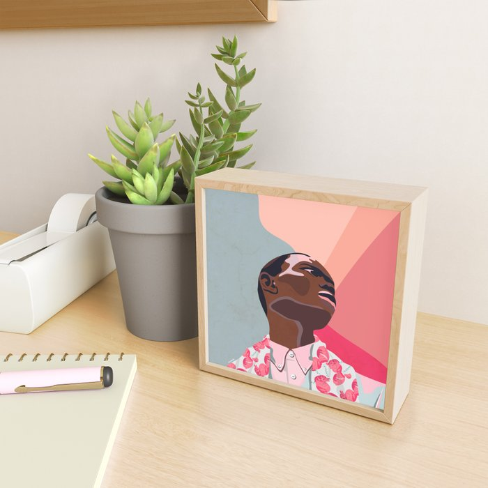 Model - spring pattern with flower motives pastel color background with marble effect Framed Mini Art Print