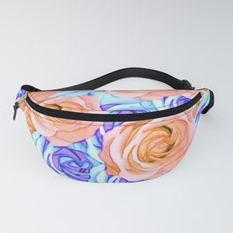blooming rose texture pattern abstract background in red and blue Fanny Pack