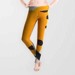 Unique Abstract Unique Mid century Modern Yellow Mustard Black Ring Dots Leggings