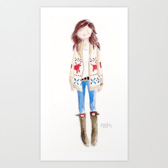 FAIR ISLE & HUNTER BOOTS Art Print
