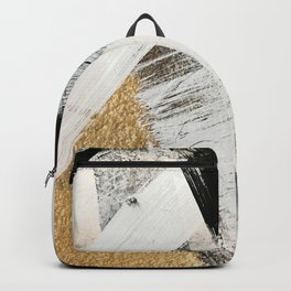 Armor [9]: a minimal abstract piece in black white and gold by Alyssa Hamilton Art Backpack