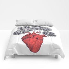 Heart with peonies Comforters