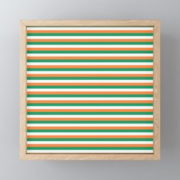 Irish Tricolour Horizontal Stripes Green Orange and White Irish Flag Framed Mini Art Print