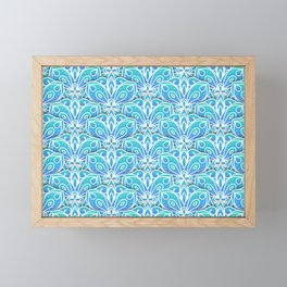 Decorative Layers of Blue Flowers Framed Mini Art Print